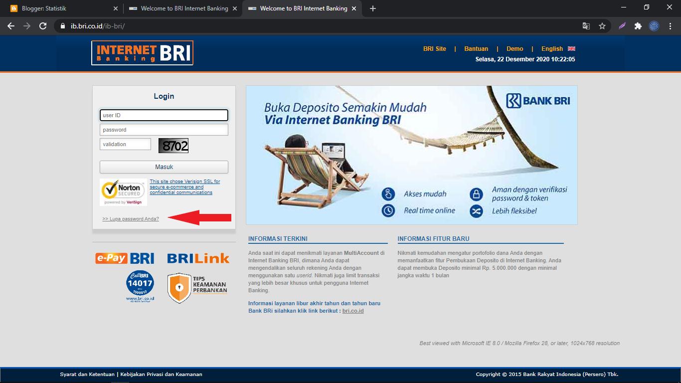 Lupa password internet banking BRI ib.bri.co.id