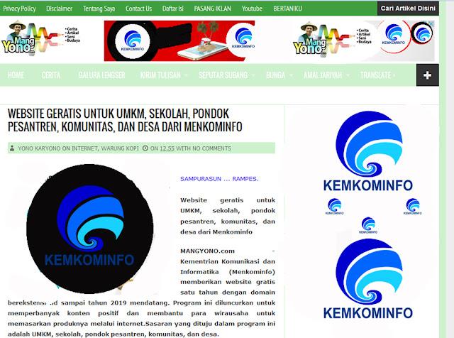 Website geratis untuk UMKM, sekolah, pondok pesantren, komunitas, dan desa dari Menkominfo