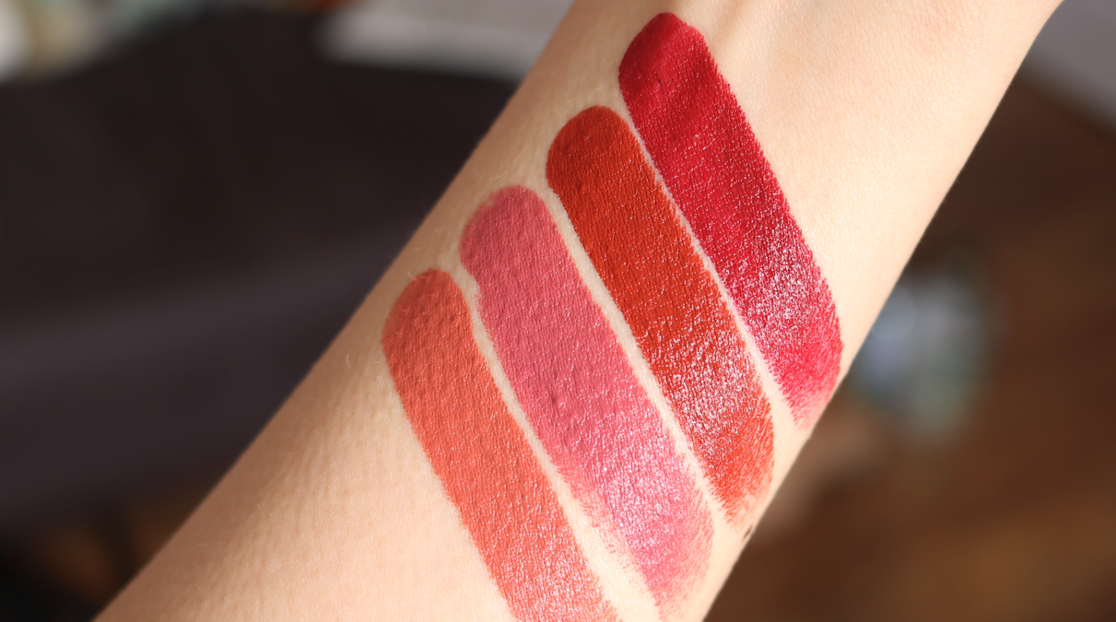 Swatches! From L-R: RMS Wild With Desire Lipstick in Brain Teaser, Temptation, Rapture and Russian Roulette