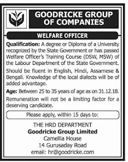 Goodricke Group of Companies Job Vacancy