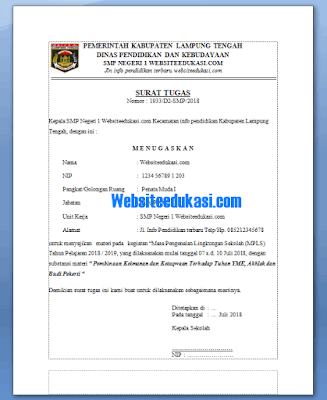 Surat Tugas Kegiatan MPLS Terbaru 2018