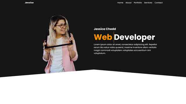 homepage with text animation