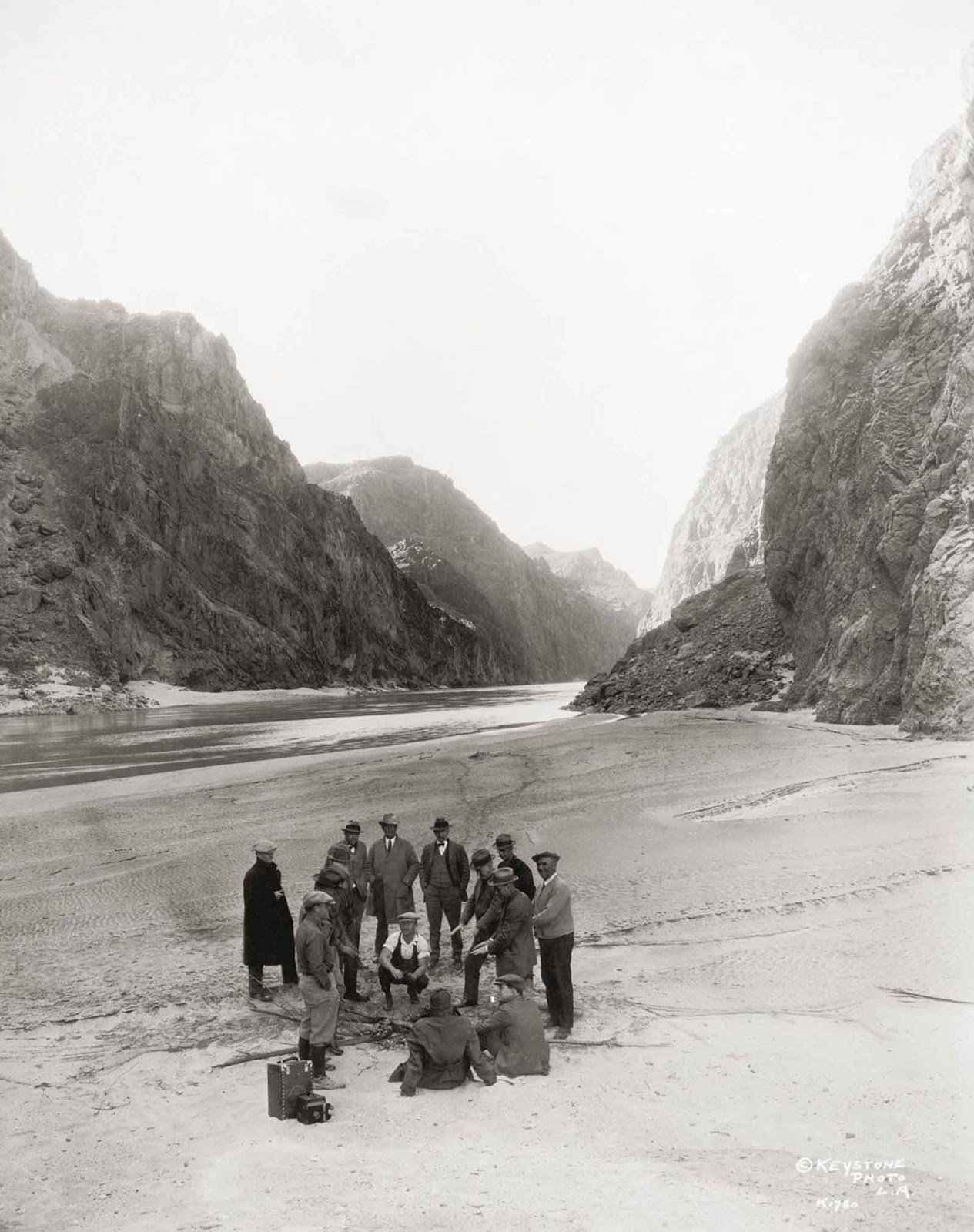 An inspection party near the proposed site of the dam in the Black Canyon on the Colorado River. 1928.