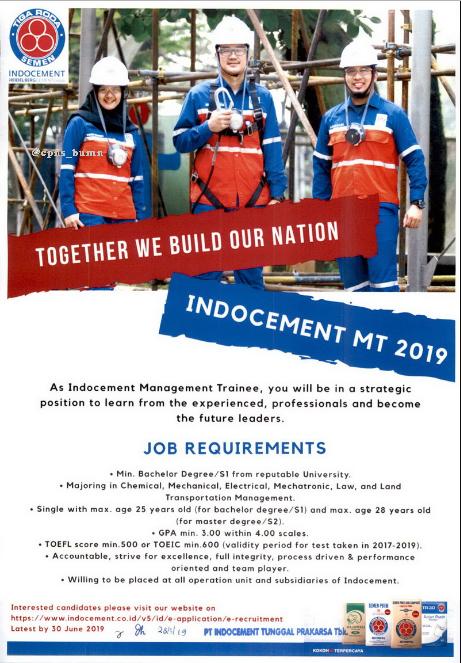 Penerimaan Management Trainee PT Indocement Tunggal Perkasa Paling Lambat 30