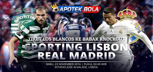 Prediksi Pertadningan Sporting Lisbon vs Real Madrid 23 November 2016