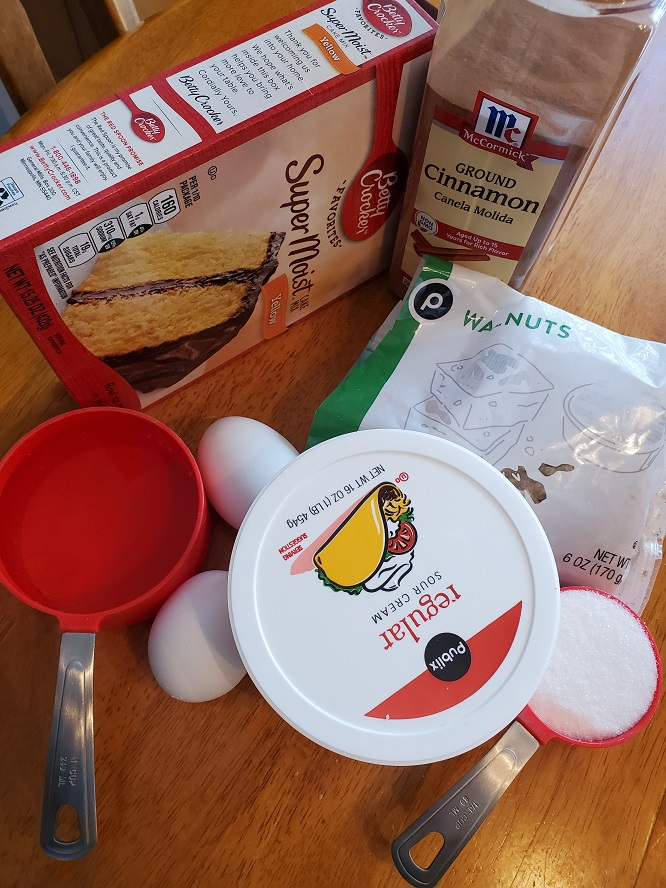 these are all the ingredients to use to make coffee cake using and making it with a doctored cake mix