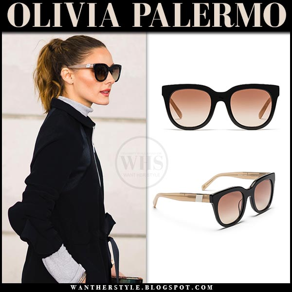 a2295c38fc Olivia Palermo wearing black and beige frame sunglasses westward leaning  moore 03. chic street style