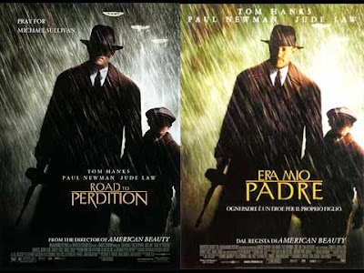 La locandina di '''Road to perdition'', in italiano ''Era mio padre''
