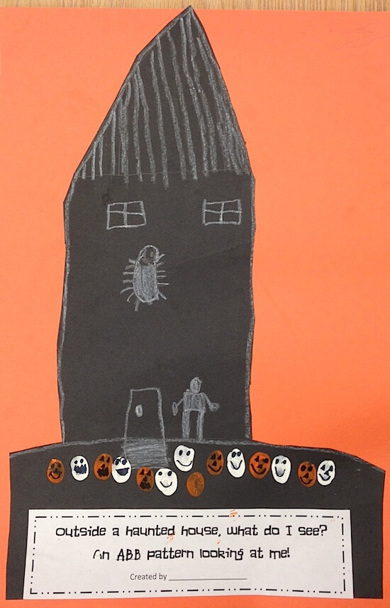 Haunted houses with ghost and pumpkin patterns