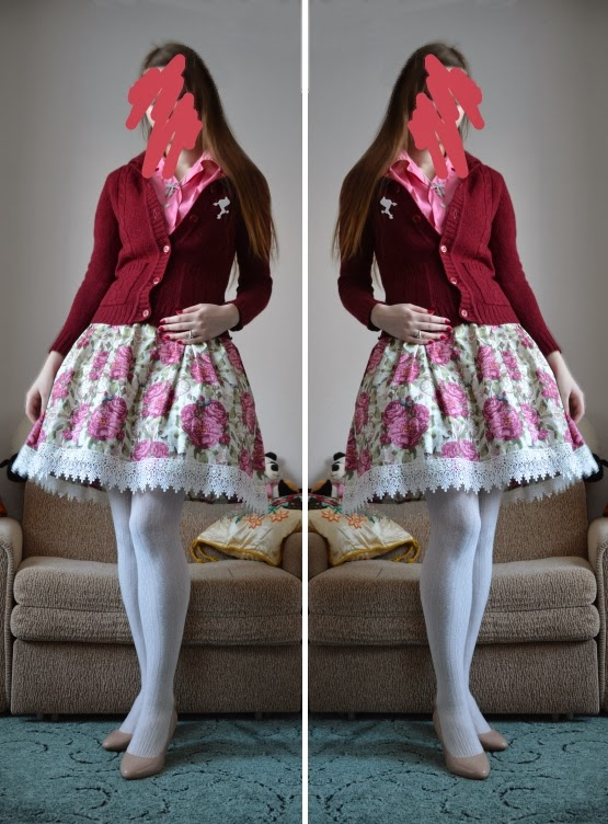 outfit rose pink sweater vintage selfmade lolita
