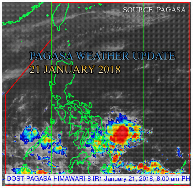 PAGASA - Philippine Weather Update: Image satellite taken via HIMAWRI-8 IRI as of today, 21 January 2018.