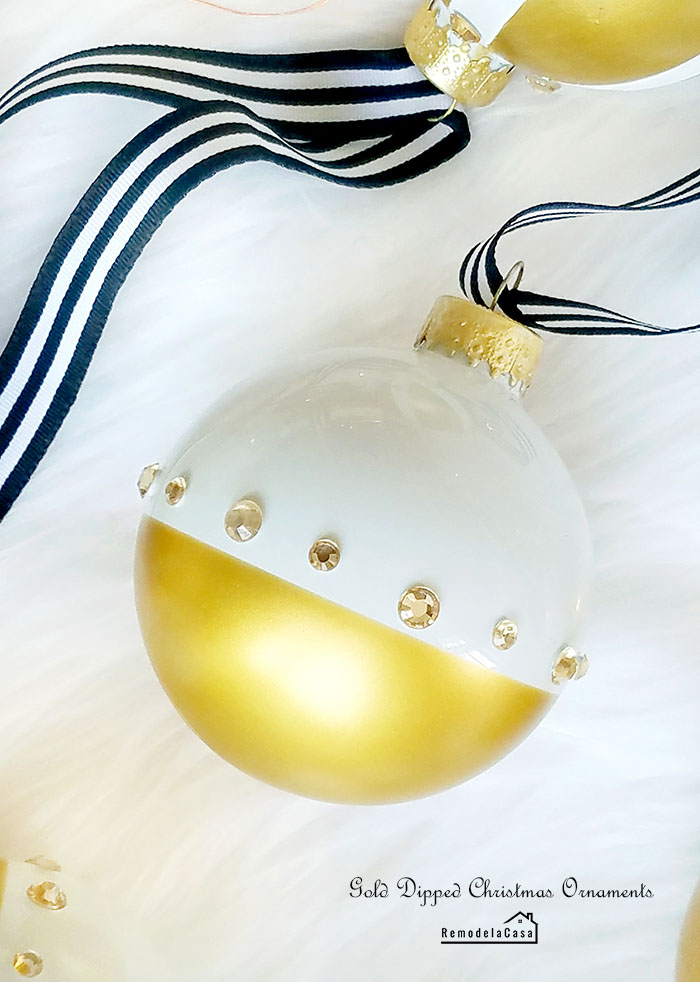 moderngGold dipped Christmas ornaments