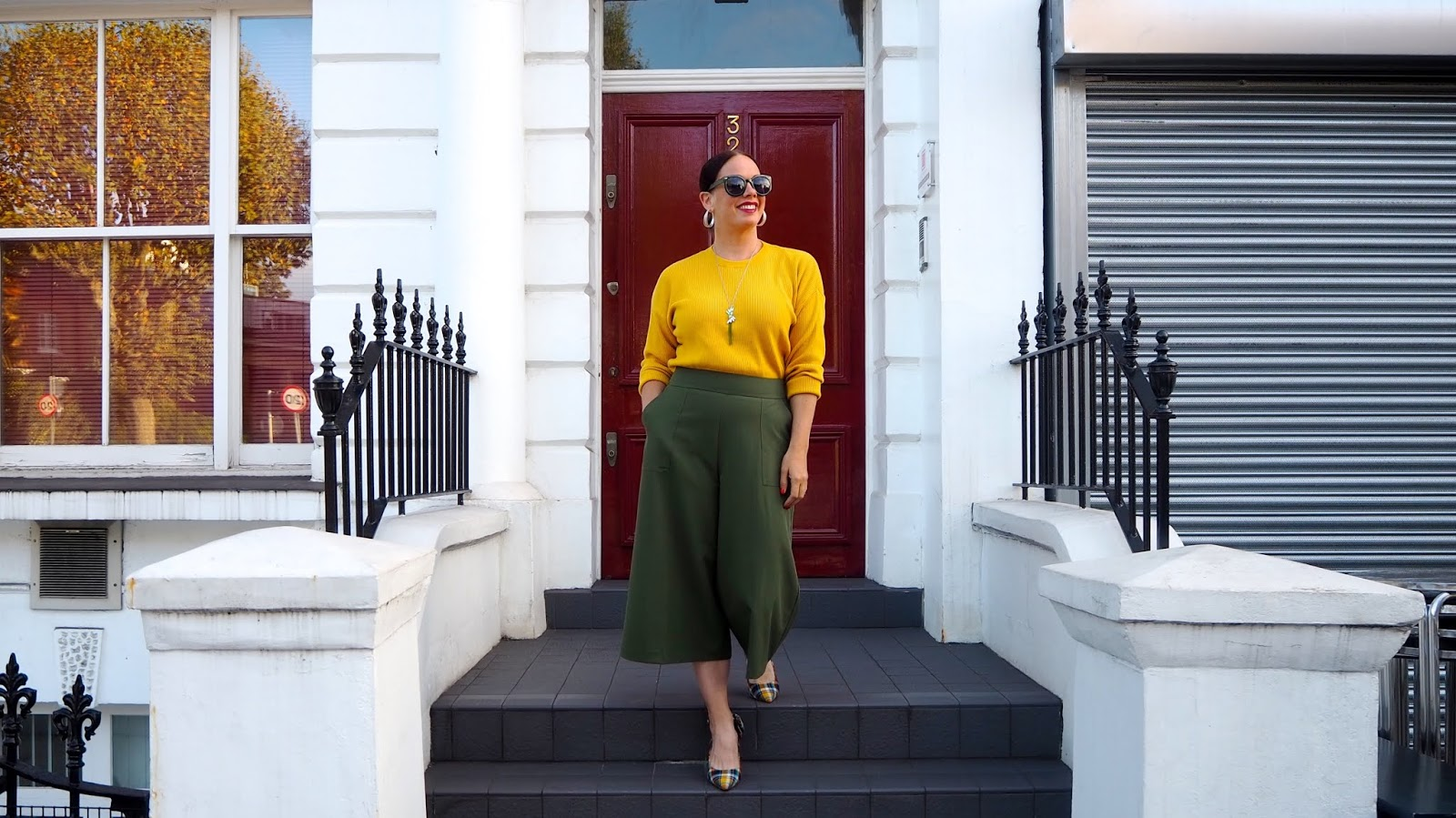Olive culottes and mustard jumper