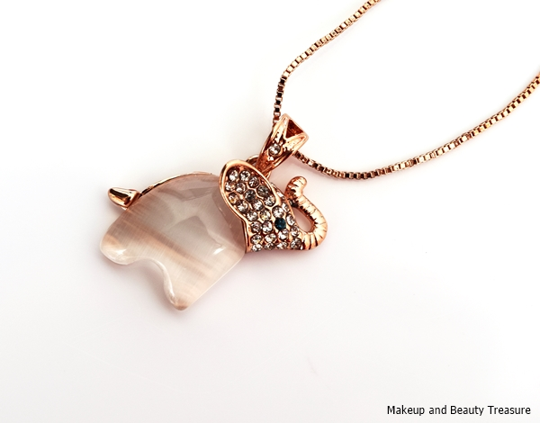 elephant necklace rose gold