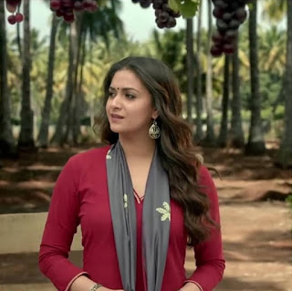 Keerthy Suresh in Maroon with Cute and Lovely Smile in Latest Ad 1
