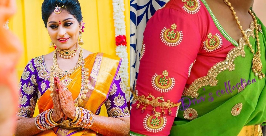 5c04b97b6b Chandbali embellished motifs are the recent fascination in reshmi saree  blouses. These latest creative pattu saree blouses with chandbali maggam  work is ...