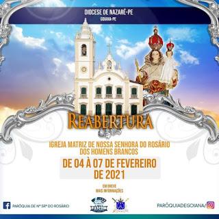 Após anos de restauração, Paróquia de Goiana anuncia reabertura da secular Igreja Matriz