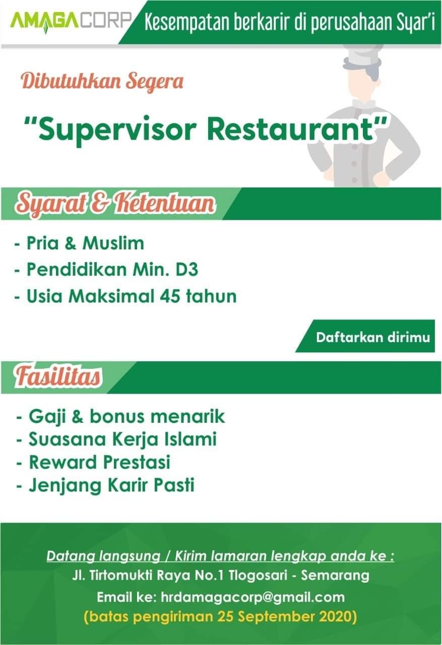 Amaga Corp Semarang Membuka Kesempatan Berkarir Untuk Posisi Supervisor Restaurant