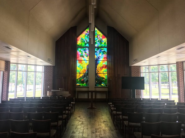 stained glass window at Elliston Chapel, Baylor University, Waco, Texas