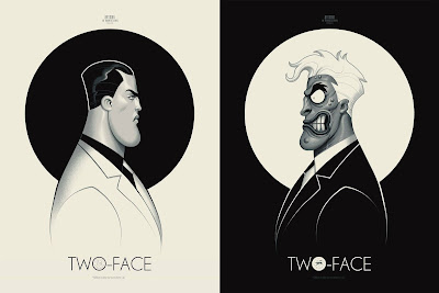 "San Diego Comic-Con 2020 Exclusive Batman The Animated Series ""Two-Face"" Double Sided Screen Print by Phantom City Creative x Mondo"