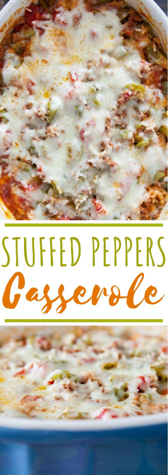 Stuffed Pepper Casserole #dinner #recipes #casserole #baked #comfortfood