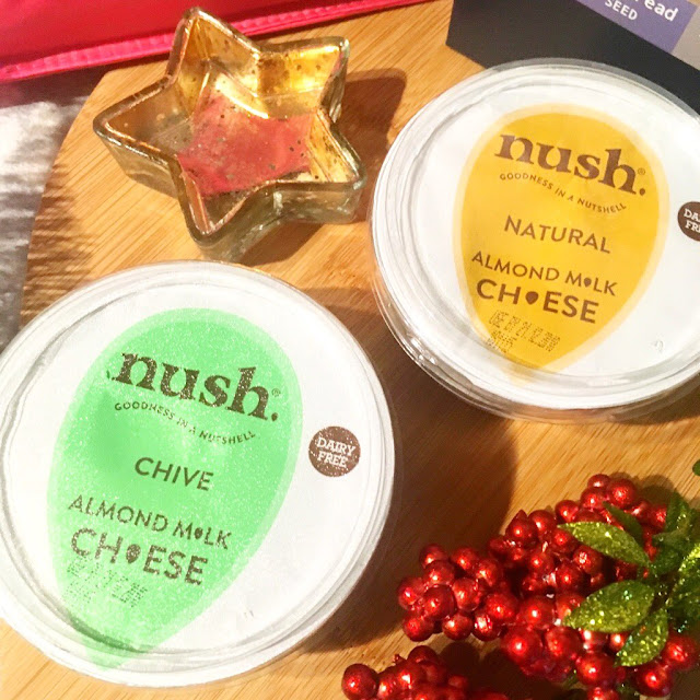 Nush natural vegan cheese and Nush chive vegan cheese