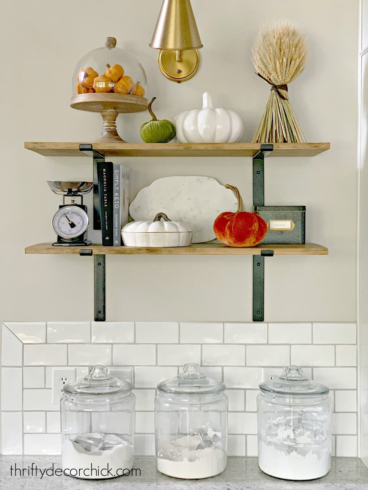 DIY open shelves in kitchen