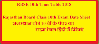 RBSE 10th Time Table 2018 – Rajasthan Board Class 10th Exam Date Sheet.