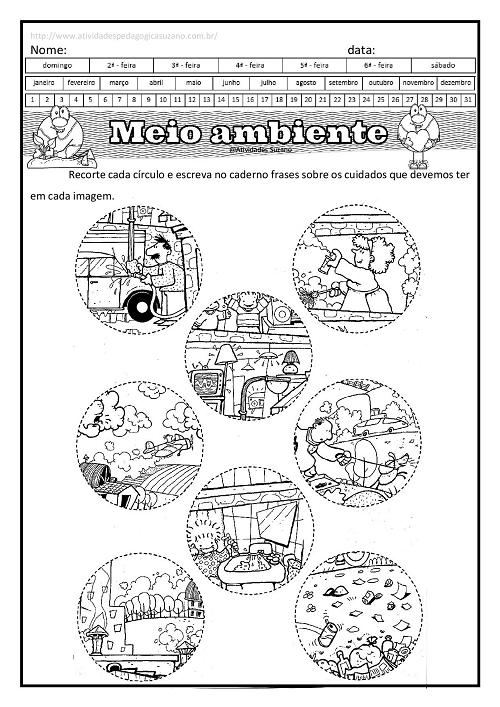 meio ambiente, ciências, Língua Portuguesa, formando frases