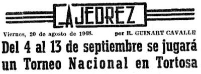 Recorte de El Mundo Deportivo sobre el Torneo Nacional de Ajedrez de Tortosa 1948