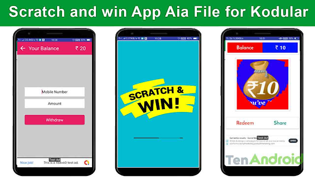 Scratch and win App Aia File for Kodular | Earning App Aia file Free