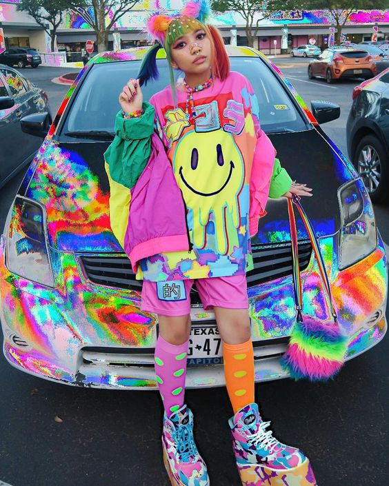 Colorful dressed girl with decora style