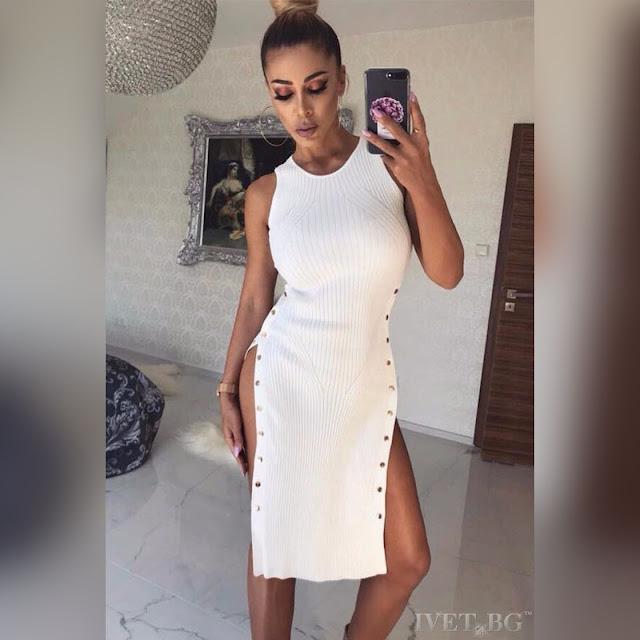 Μεσάτο άσπρο φόρεμα DESITA WHITE