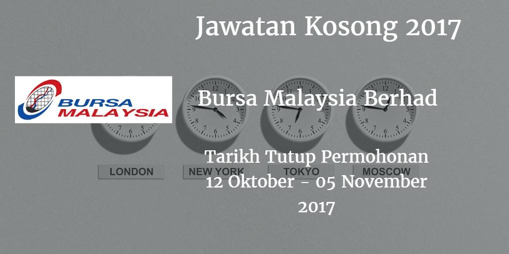 Jawatan Kosong Bursa Malaysia Berhad 12 Oktober - 05 November 2017