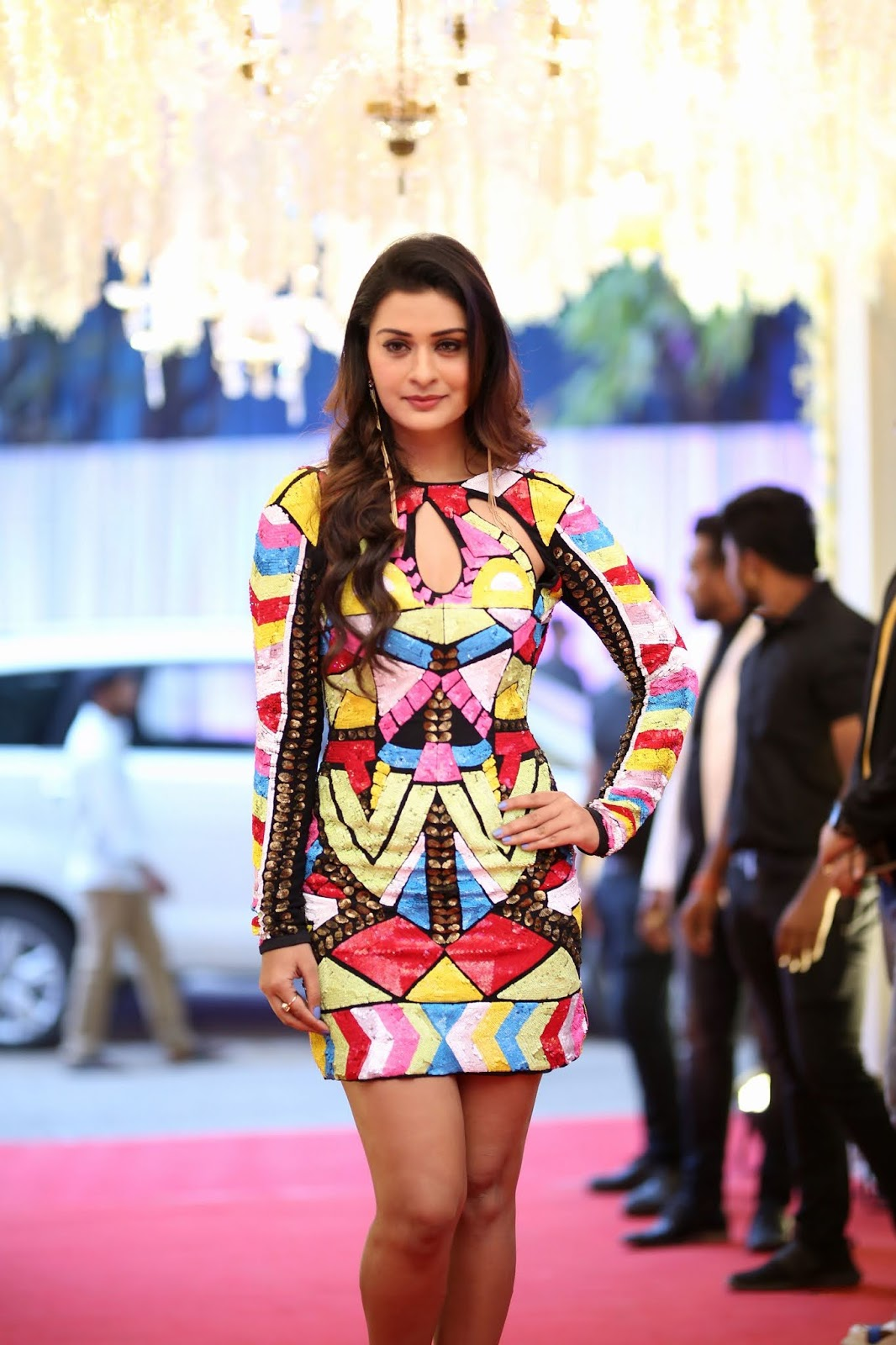 Payal Rajput Looks gorgeous in spicy colorful short dress deep neck