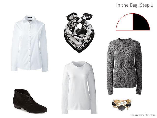 adding black and white pieces to a travel capsule wardrobe