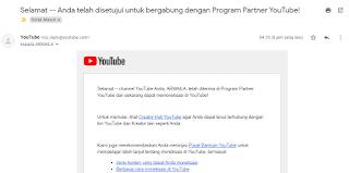 Selamat channel YouTube Anda, ARMAILA, telah diterima di Program Partner YouTube dan sekarang dapat memonetisasi di YouTube