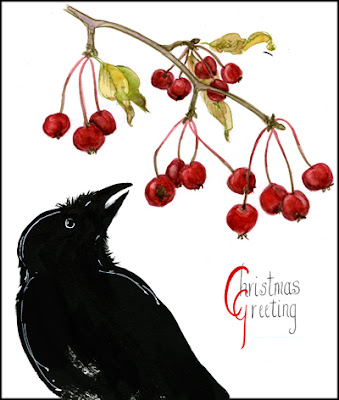 Christmas greeting with raven and crabapples