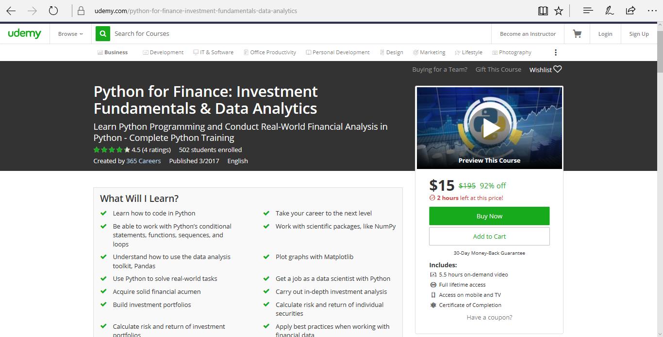 Udemy - Python for Finance - Investment Fundamentals & Data Analytics