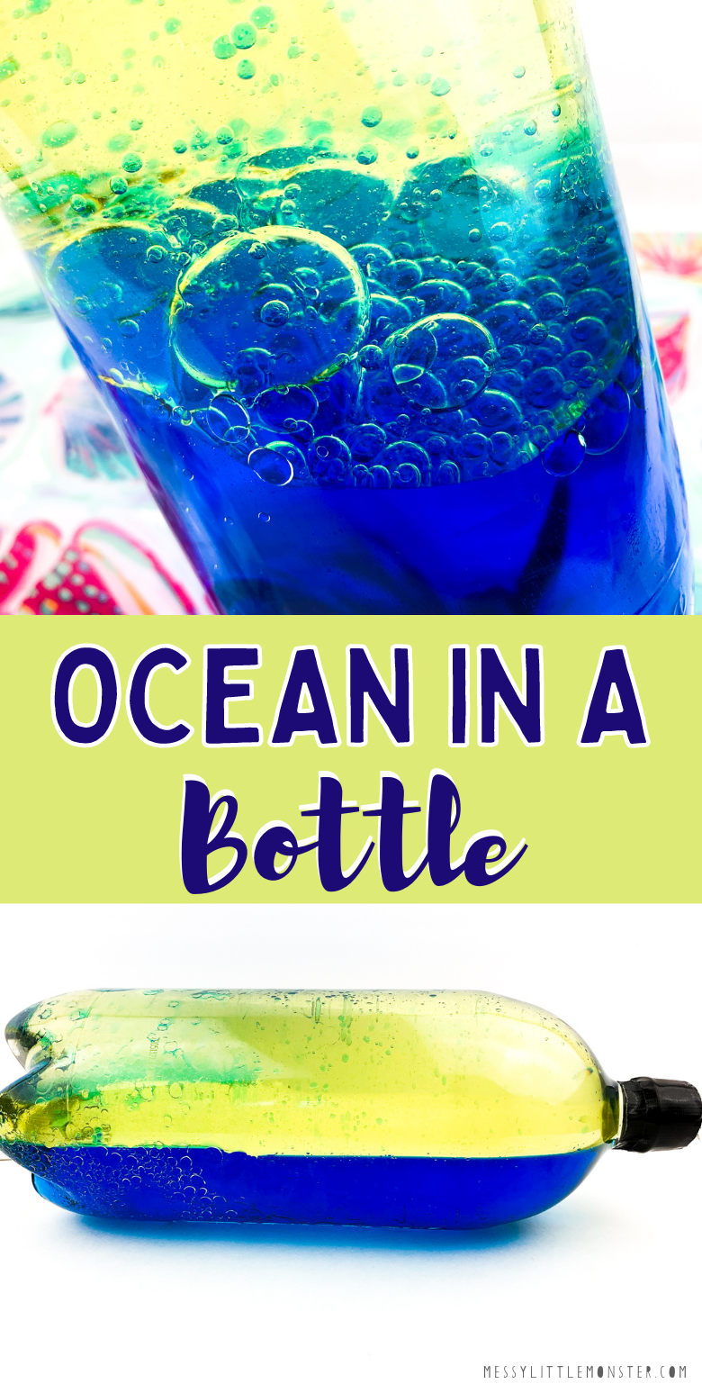 Ocean in a bottle. Easy summer science experiment for kids. DIY ocean sensory bottle. Oil and water experiment.