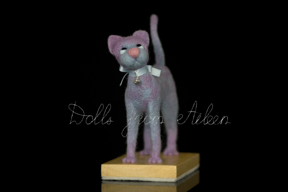 ooak needle felted cat sculpture, front view