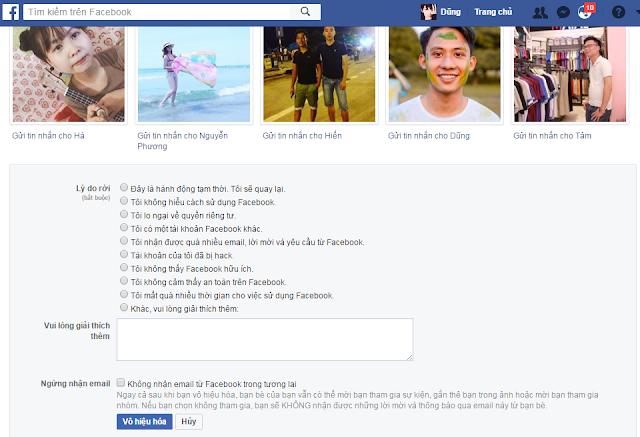 hướng dẫn tạm khóa facebook của bạn lại