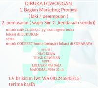 Lowongan Kerja di Cafe Codee57 Surabaya Februari 2021