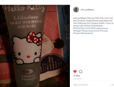 Hello Kitty Scrub Gel, Menang 1st Prize Lazada Merdeka Blogger Contest, Lazada Malaysia, Contest, Lazada Blogger Contest, Giveaway From Blogger, Hadiah, Rezeki, Kemenangan, My Feeling, Happy,