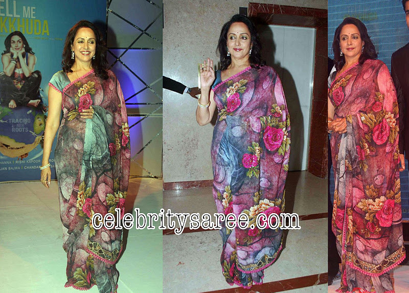 Hema Malini in Printed Georgette Sari - Saree Blouse Patterns
