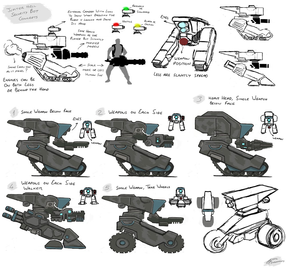 Jupiter Hell security bot concept art