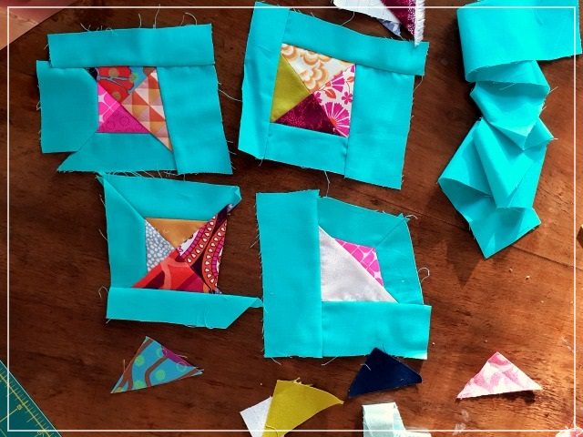 Improv quilting, Puppilalla, scrappy triangle; pillowcase, patchwork, modern quilting