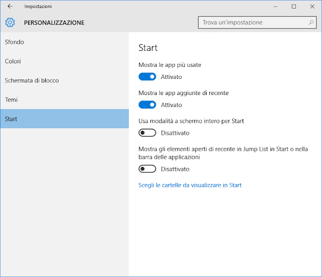 Impostazioni menu Start Windows 10