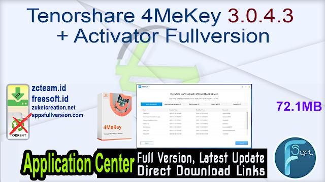 Tenorshare 4MeKey 3.0.4.3 + Activator Fullversion