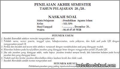 Soal PAS PAI Kelas 12 SMA Tahun 2019/2020
